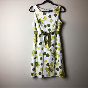 Kim Rogers Green Floral Dress with Green Ribbon